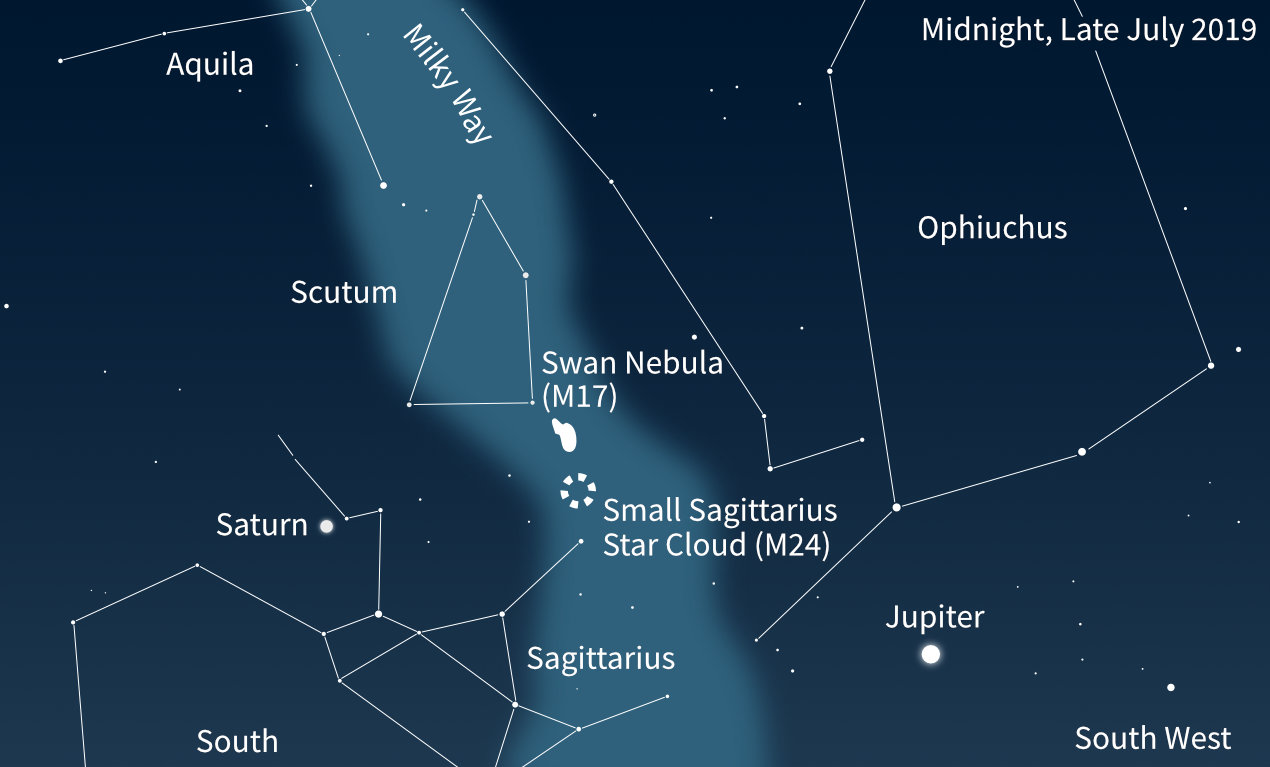 Location of M17 and Small Sagittarius Star Cloud